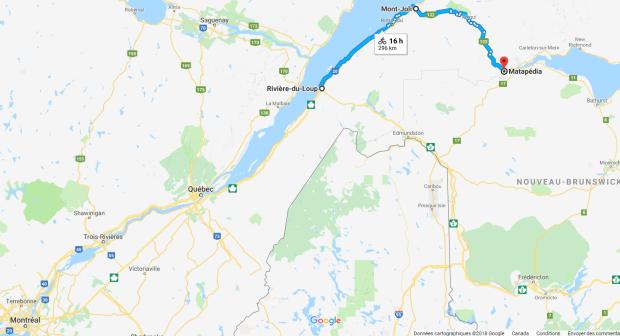 Trajet Rivière-du-Loup Matapédia
