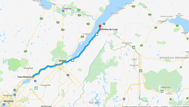 Trajet Trois-Rivière Rivière-du-Loup