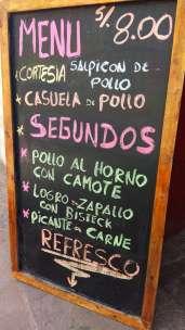 Menu d'un almuerzo à Cusco