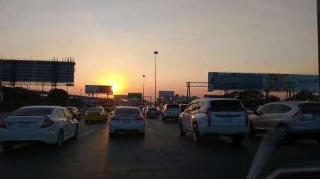 Arrivée à Bangkok au coucher de soleil