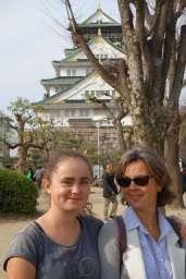 Ici devant le château d'Osaka