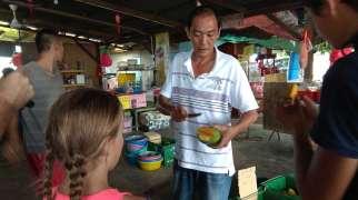 Un jour, nous nous arrêtons en chemin dans une plantation de manguiers. Le proprio nous fait goûter quelques spécialités (mangue dragon, susu...)